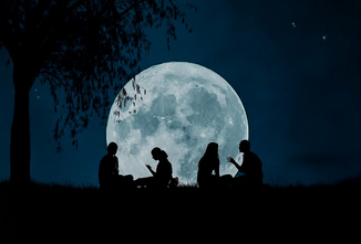 lovers sitting under a big moon